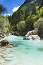 The Julian Alps in Slovenia - Soca river Stock Photos
