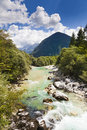 The Julian Alps in Slovenia - Soca river Stock Photo
