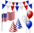 July celebrating item set with flags hats and balloons Stock Photo