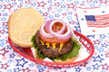 July fourth hamburger a thick juicy in a basket with a theme Royalty Free Stock Photos
