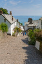 The july heatwave in england saw tourists flocking to clovelly devon united kingdom th families village Royalty Free Stock Photography