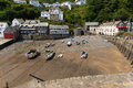 The july heatwave in england saw tourists flocking to clovelly devon united kingdom th families village Stock Photos