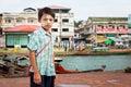 30 July 2015 Kawthaung,Myanmar; Burmese boy with Tanaka powder