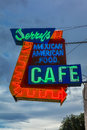 July 21, 2016 - Neon sign for 'Jerrys Cafe' - Mexican American Cafe - Gallup, New Mexico, old Route 66 Royalty Free Stock Photo