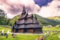 July 23, 2015: Stave church of Borgund in Laerdal, Norway