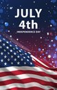 July 4th Banner, American Flag 3D Render, USA ART