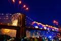 July 4th 2014 fireworks Brooklyn bridge Manhattan Royalty Free Stock Photo