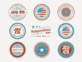 July th stamps and seals collection of american independence day Royalty Free Stock Image