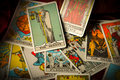 Jumbled and Scattered Pile of Tarot Cards Royalty Free Stock Photo