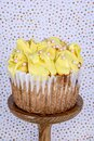 Jumbo blueberry cupcakes with piped colored buttercream Royalty Free Stock Photo