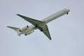 Jumbo jet flying in the sky airline passengers Stock Photos