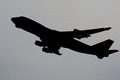 Jumbo jet silhouette of taking off against grey background Stock Images