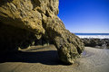 Jumbo rock in Malibu beach Stock Image