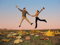 Jump couple Royalty Free Stock Image
