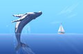 Jump humpback big huge whale near small boat ship yacht. Hidden ocean power. Royalty Free Stock Photo