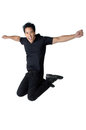 Jump man black shirt blessed isolated the Royalty Free Stock Images