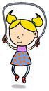 Jump rope little girl illustration of blond jumping the on white background Stock Images