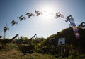 Jump sequence of FMX rider performing trick Royalty Free Stock Images