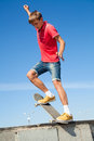 Jump on a skateboard cool is jumping high in air Stock Photos