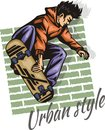 Jump on a skateboard -  vector color illustration Royalty Free Stock Photo