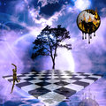 Jump surreal scene with checkerboard and melting time Royalty Free Stock Photography