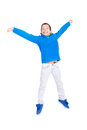 Jump young boy jumping isolated in white Royalty Free Stock Images