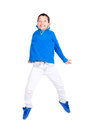 Jump young boy jumping isolated in white Stock Photography