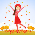 Jumping autumn girl Stock Photos