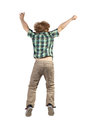 Jumping boy happy little isolated on white background it is back view Stock Images