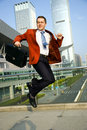 Jumping businessman Stock Photo