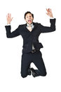 Jumping businessman an handsome on a white background Stock Images