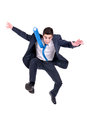 Jumping businessman high isolated in white Royalty Free Stock Image