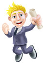 Jumping businessman and scroll cartoon with certificate qualification or other for joy with fist clenched education concept for Stock Photo