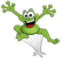 Jumping cartoon frog isolated on white Royalty Free Stock Photo