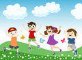 Jumping children illustration Royalty Free Stock Photo