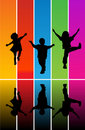 Jumping children silhouettes Royalty Free Stock Photos