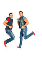 Jumping dancers men isolated on white background Royalty Free Stock Photo