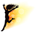 Jumping dancing woman an illustration of a and on a bright orange yellow field Royalty Free Stock Photos