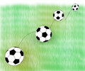 Jumping football ball on abstract grass Stock Photos