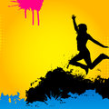 Jumping girl on an abstract background Royalty Free Stock Photo