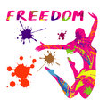 Jumping girl, freedom concept, vector illustration