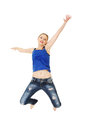 Jumping happy teen girl Stock Image