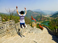 Jumping on Huanghuacheng Lakeside Great Wall section Royalty Free Stock Photo