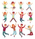 Jumping kids. Excited childrens jump, happy jumped teenagers and smiling child jumps cartoon vector illustration set Royalty Free Stock Photo