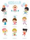 Jumping kids, Multi-ethnic children jumping, Kids jumping with joy , happy jumping kids, happy cartoon child playing, Kids playing Royalty Free Stock Photo
