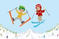 Jumping kids on ski slope vector illustration of Stock Photo