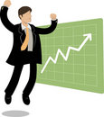 Jumping man and chart up Stock Image
