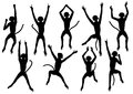 Jumping monkeys set of editable vector silhouettes of Stock Photos