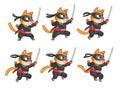 Jumping nija cat animation sprite cartoon illustration of ninja for game Stock Images