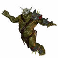 Jumping orc Royalty Free Stock Photo